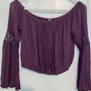 Purple cropped lace off the shoulder long sleeve